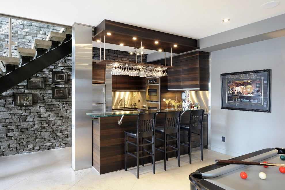 Crawford Electric Supply for a Contemporary Basement with a Oak Cabinets and Lake Front Basement Bar by Luxurious Living Studio Inc.