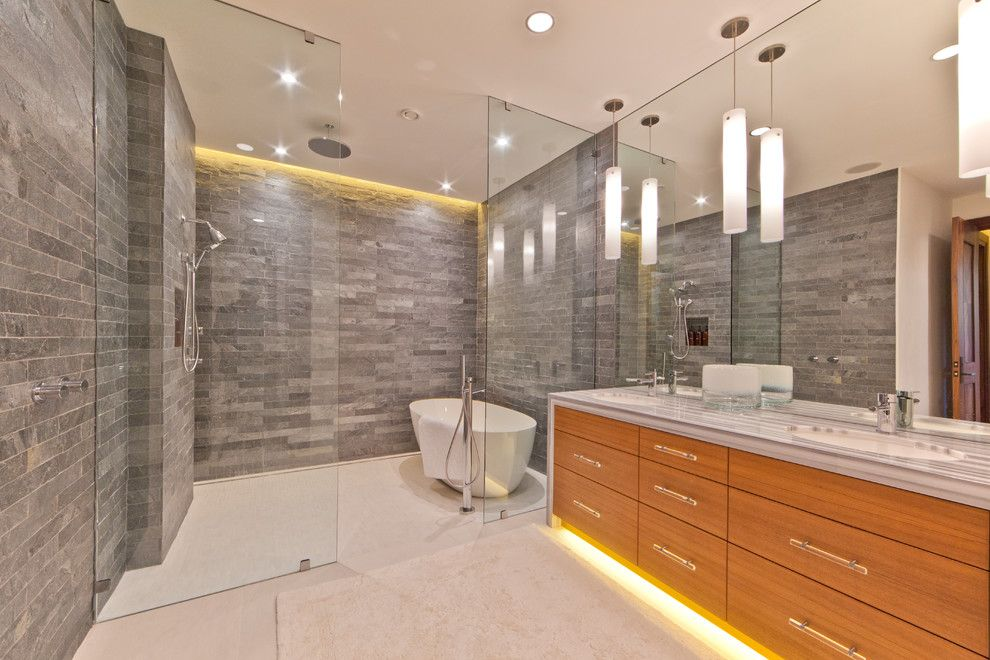 Crawford Electric Supply for a Contemporary Bathroom with a Modern Bath and Martis Camp Lot 379 by Kelly and Stone Architects   Tahoe