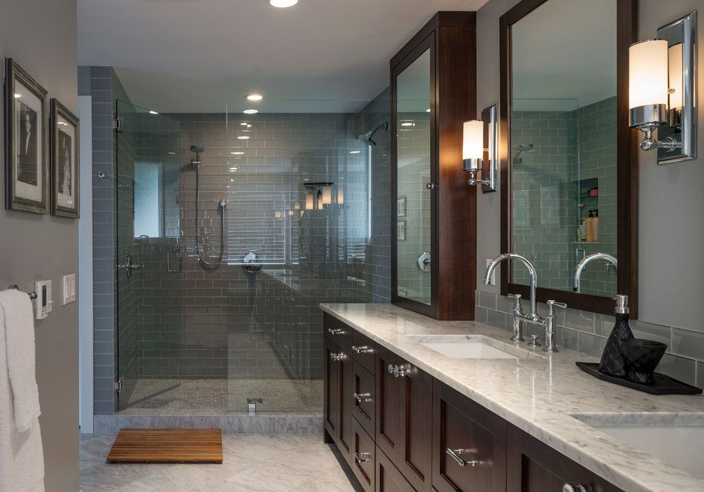 Crawford Electric Supply for a Transitional Bathroom with a Double Sinks and Dyna Bathrooms by Dyna Contracting