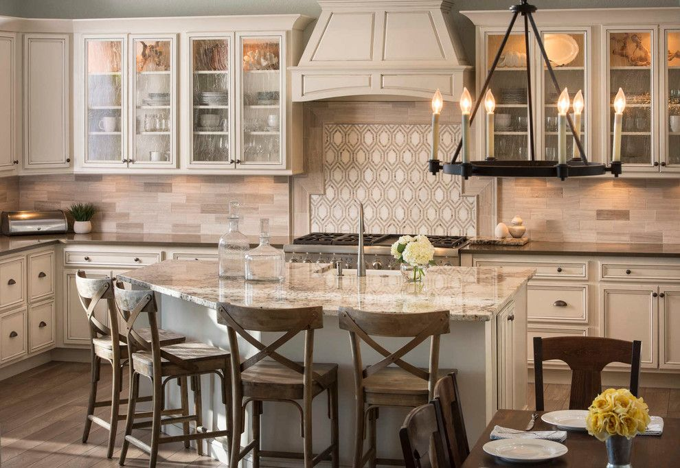 Crescent Springs Hardware for a Traditional Kitchen with a Wood Bar Stools and Coastal Kitchen by Tina Marie Interior Design