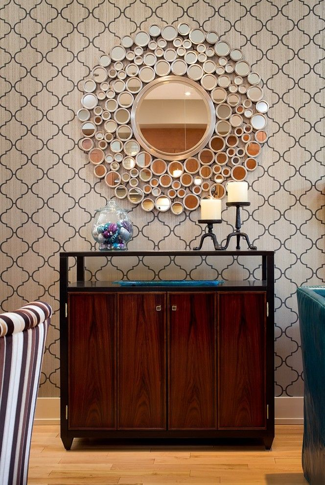 Cresta Bella for a Contemporary Dining Room with a Sunburst Mirror and Contemporary Dining Room by Decdens.com