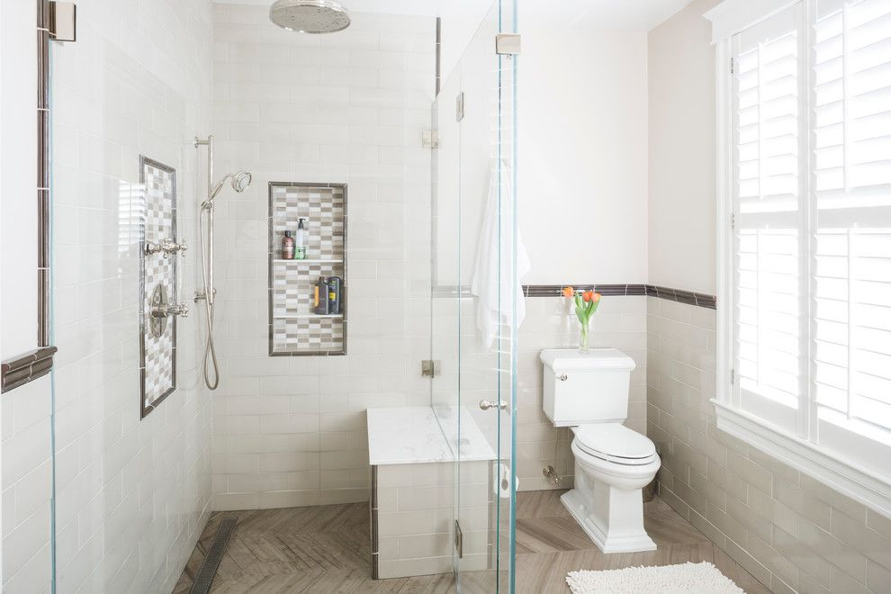 Cresta Bella for a Traditional Bathroom with a Decorative Tile Border and Family Friendly Remodel by All Design
