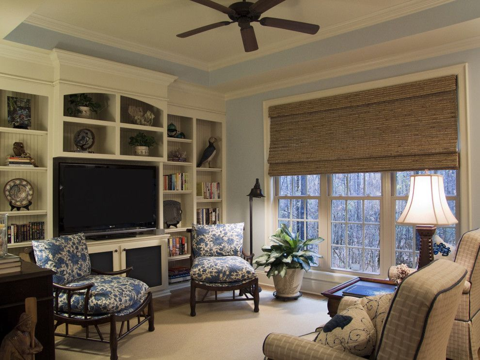 Crown Point Townhomes for a Beach Style Family Room with a Floor Lamp and Coastal Den by Jane Ann Designs