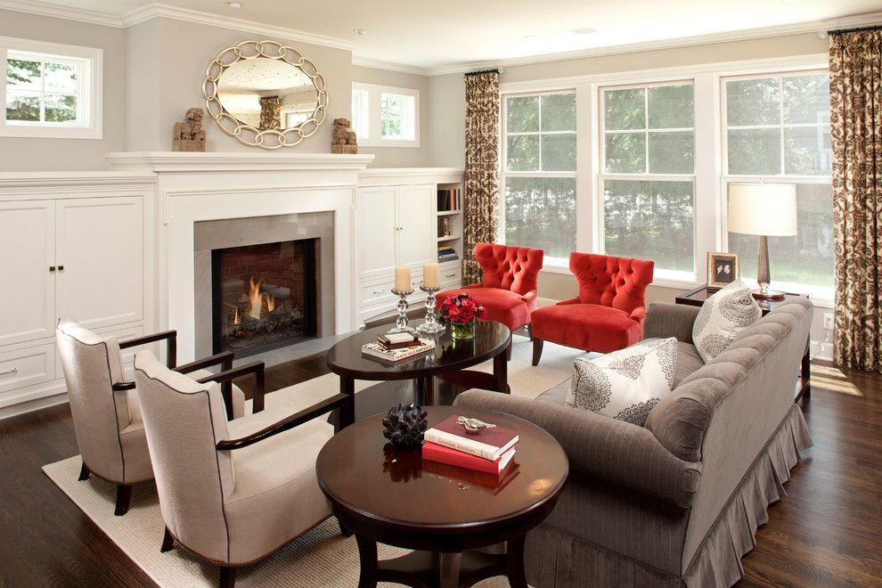 Crown Point Townhomes for a Traditional Living Room with a Brown and White Curtains and Traditional Chic by Refined Llc