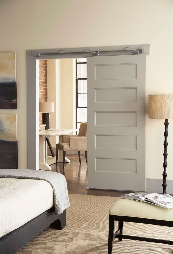 Cuddle Down for a Contemporary Bedroom with a Gray Throw and Bedroom Wall Mount 200WF by Johnson Hardware