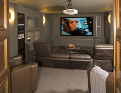 Cuddle Down for a Contemporary Home Theater with a North Oaks Mn and North Oaks -  Contemporary New Home by Bob Michels Construction, Inc.