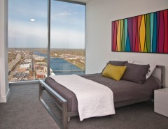 Culver City Theater for a Contemporary Bedroom with a Steel Bed and Essex - Contemporary Penthouse by Visbeen Architects