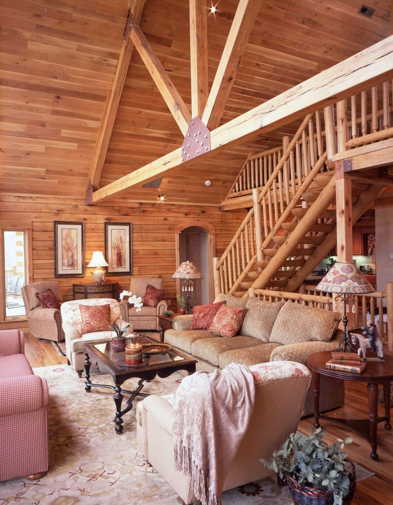 Cumberland Furniture for a Traditional Living Room with a Dark Wood Coffee Table and Cumberland Mountain by Gastineau Log Homes, Inc.