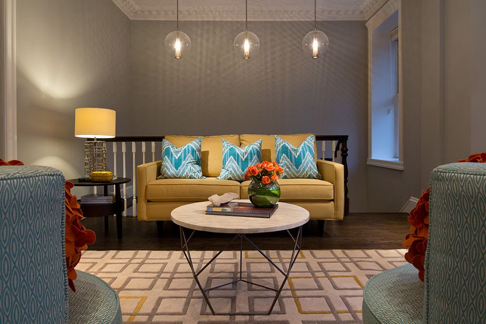 Curations for a Transitional Family Room with a Window and Upper West Side Duplex by Curated Nest