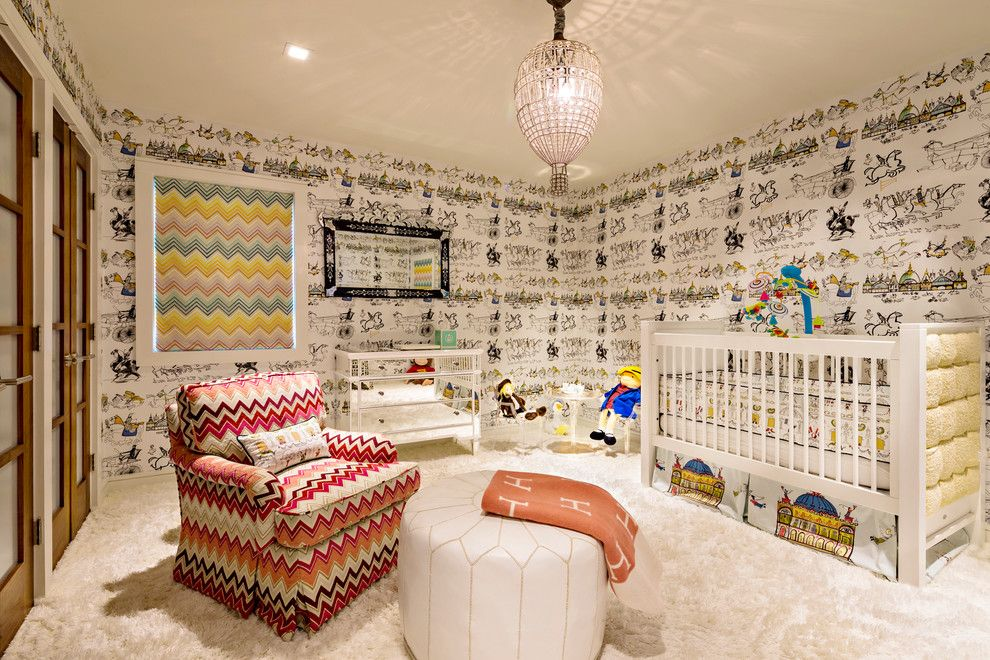 Currey and Co for a Contemporary Nursery with a Wallpaper and Old Westbury House by Hubley Design Interiors, Llc