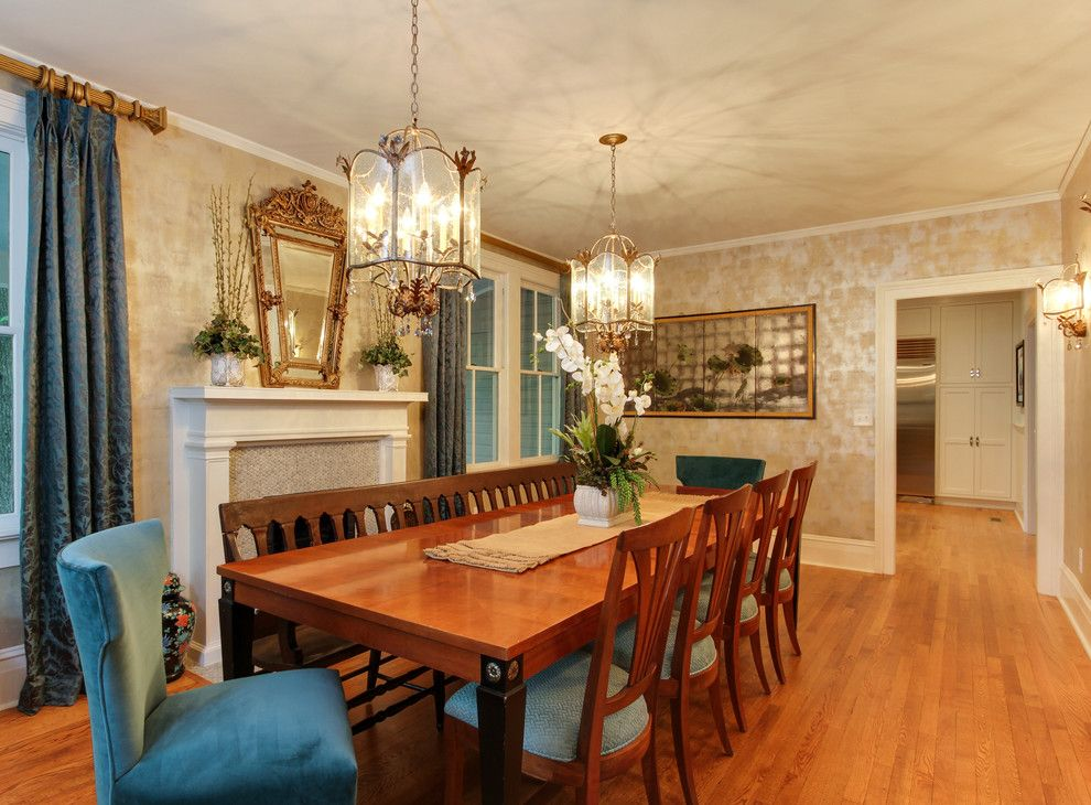 Currey and Co for a Traditional Dining Room with a Dining Table and Bench and Historic Southern Home by Otrada Llc by Otrada Llc