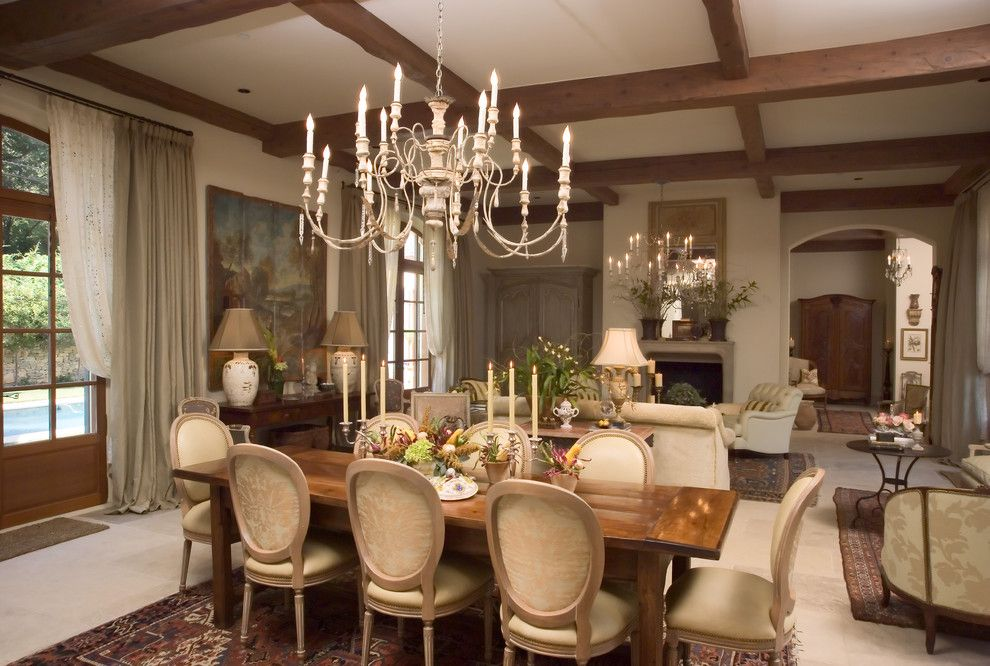 Currey and Co for a Traditional Dining Room with a Wood Ceiling Beams and Lifestyle House by Jack Arnold Companies