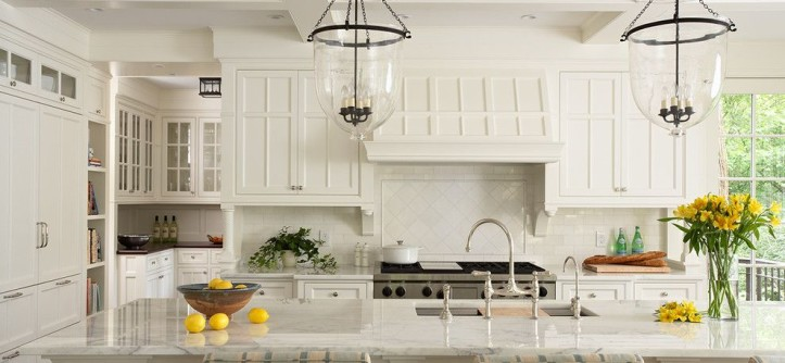 Currey and Co for a Traditional Kitchen with a Butlers Pantry and a Vision in White by Steven Cabinets