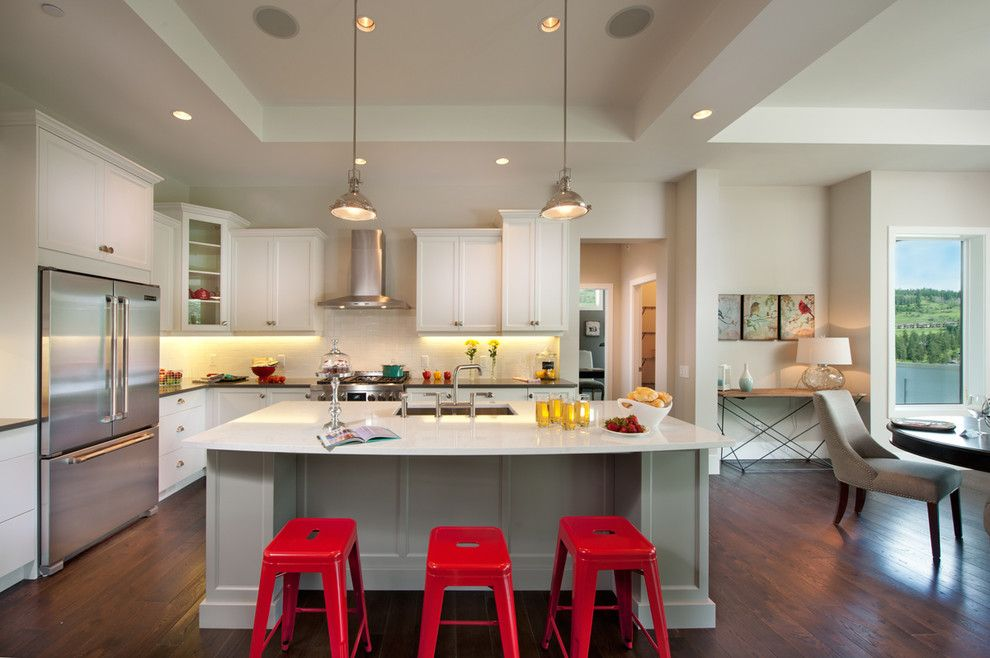 Currey and Co for a Transitional Kitchen with a Neutral and Predator Ridge Show Home by Sticks and Stones Design Group Inc