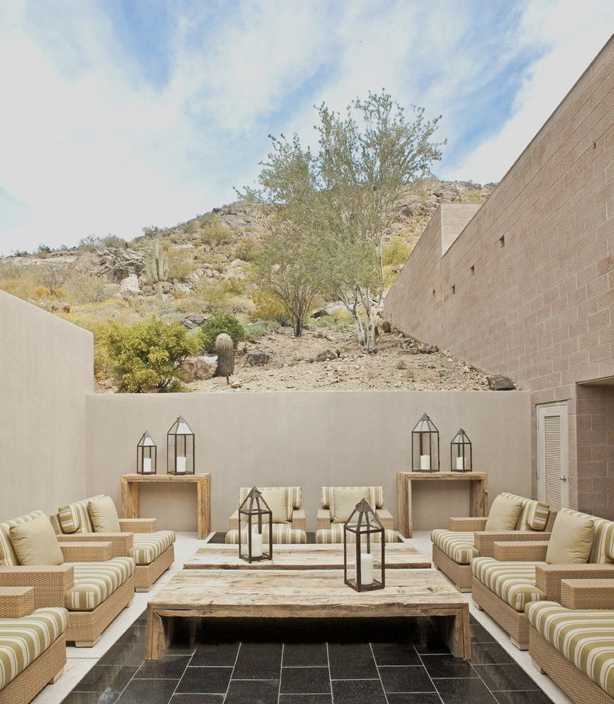 Cusion for a Southwestern Patio with a Tile Floor and Exterior by the Refined Group