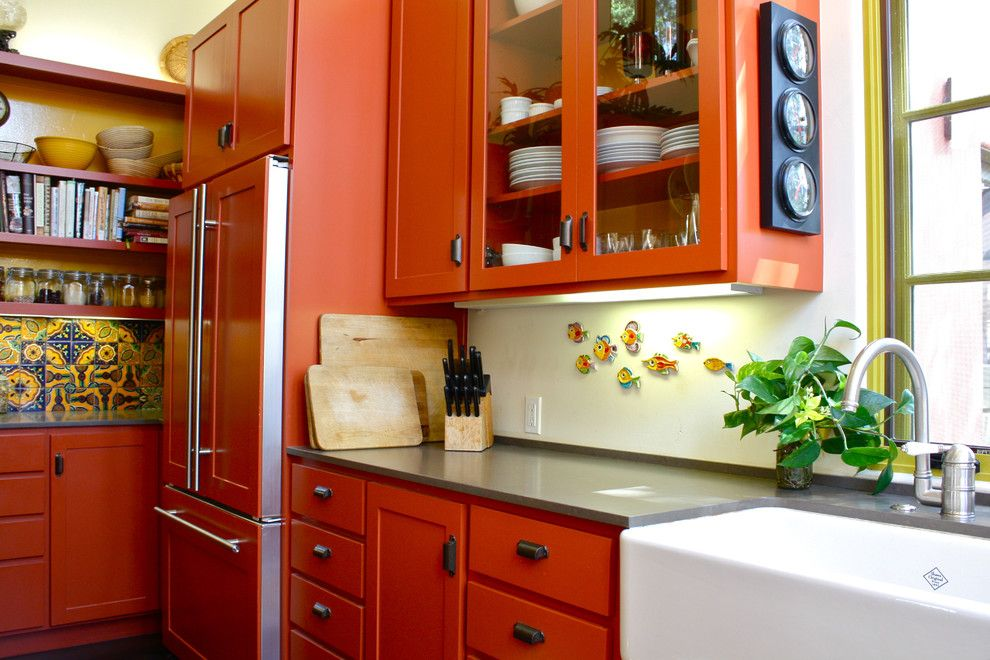 Cutco Knife Sharpening for a Southwestern Kitchen with a Glass Front Cabinets and Kitchen by Shannon Malone