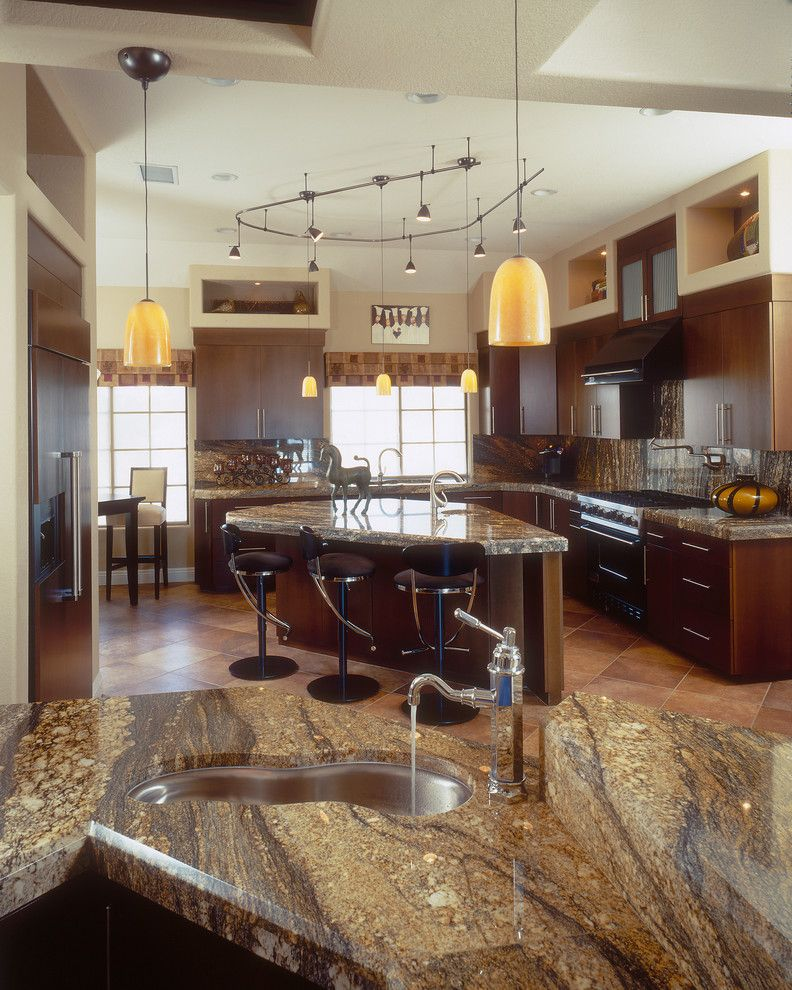 Cutting Edge Granite for a Transitional Kitchen with a Ceiling Lighting and Kitchen Examples by Marrokal Design & Remodeling