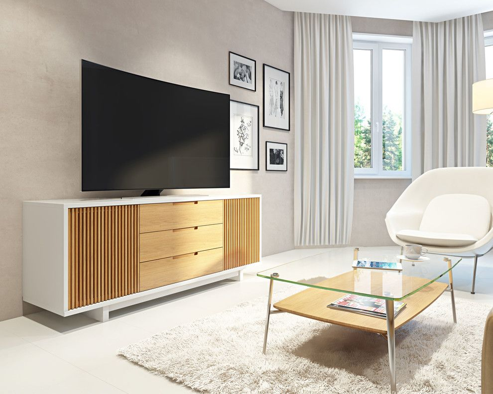 Cvs Media Pa for a Contemporary Living Room with a White Finish and Bdi Furniture by Bdi Furniture