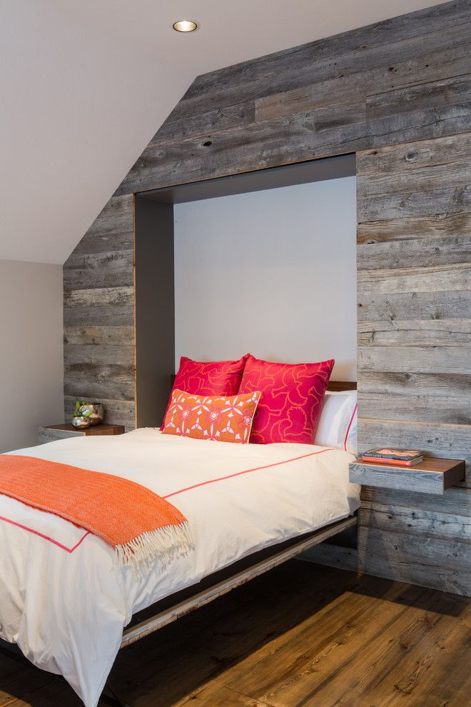 Dads Garage for a Rustic Bedroom with a Orange Blanket and Teton Pines by Dwelling
