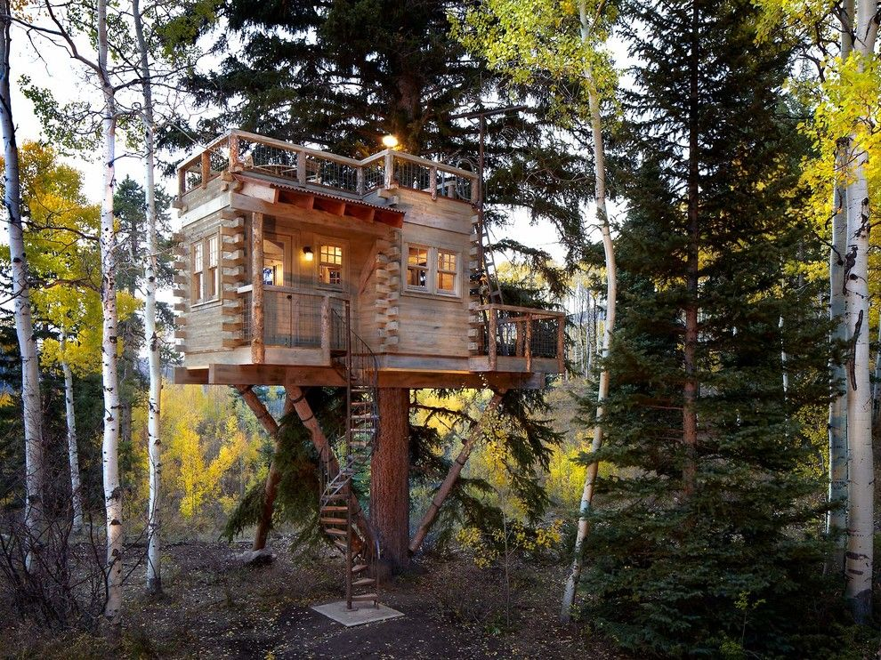 Dads Garage for a Rustic Exterior with a Outdoor Lighting and Colorado Treehouse by Missy Brown Design