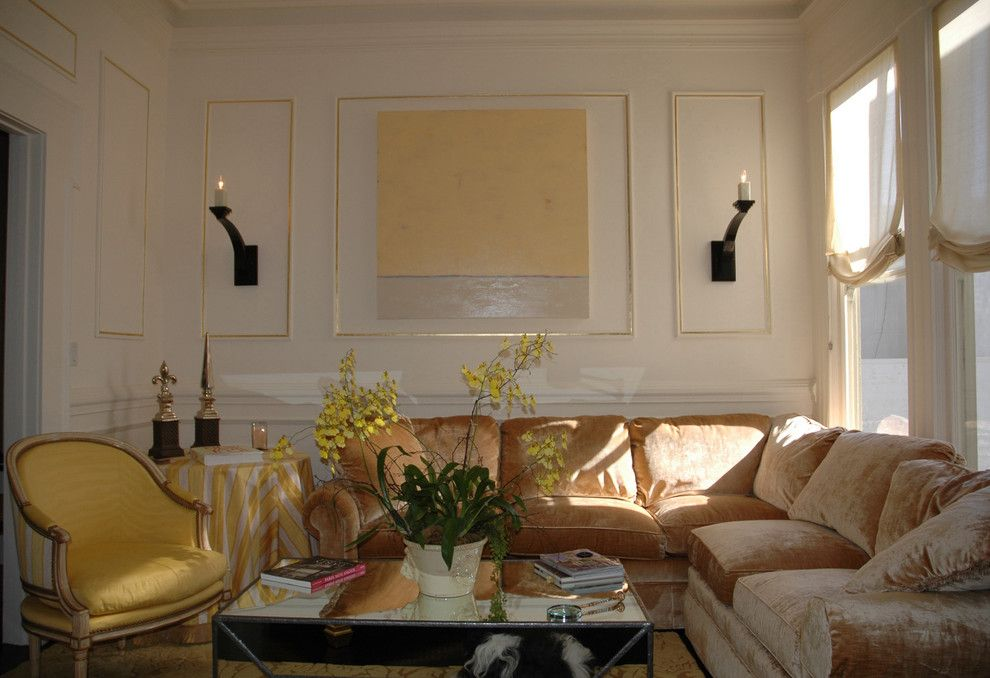 Dancing Goats Coffee for a Eclectic Living Room with a Crown Moulding and Living Room Wall. by Jerry Jacobs Design, Inc.