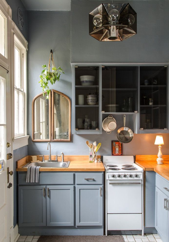 Darkside Window Tinting for a Traditional Kitchen with a Blue Kitchen and Ursulines Apartment by Logan Killen Interiors