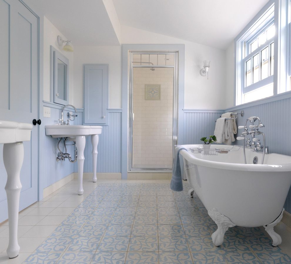 Dc2ny for a Farmhouse Bathroom with a Freestanding Bathtub and Vermont Farmhouse Remodel by Peregrine Design Build