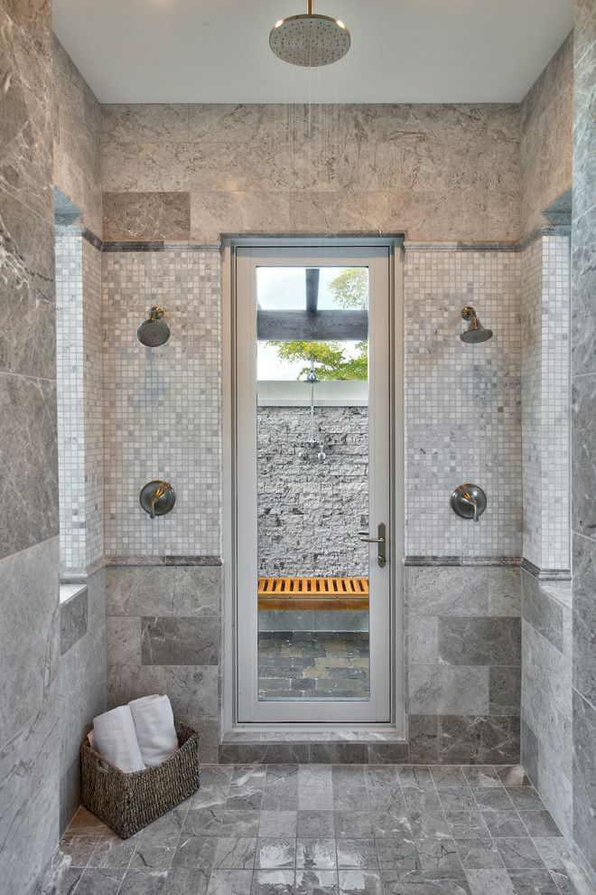 Dc2ny for a Traditional Bathroom with a Spa Bathroom and Master Bath with Access to Outdoor Shower by Weber Design Group, Inc.
