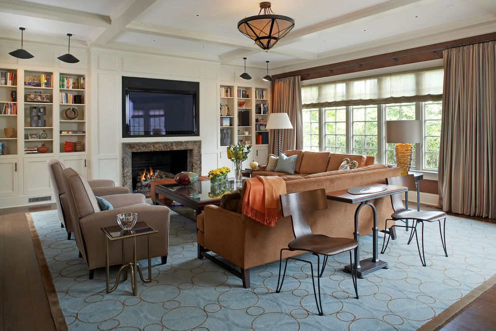 Dc2ny for a Traditional Family Room with a Blue Rug and Westchester Home by Sandra Oster Interiors