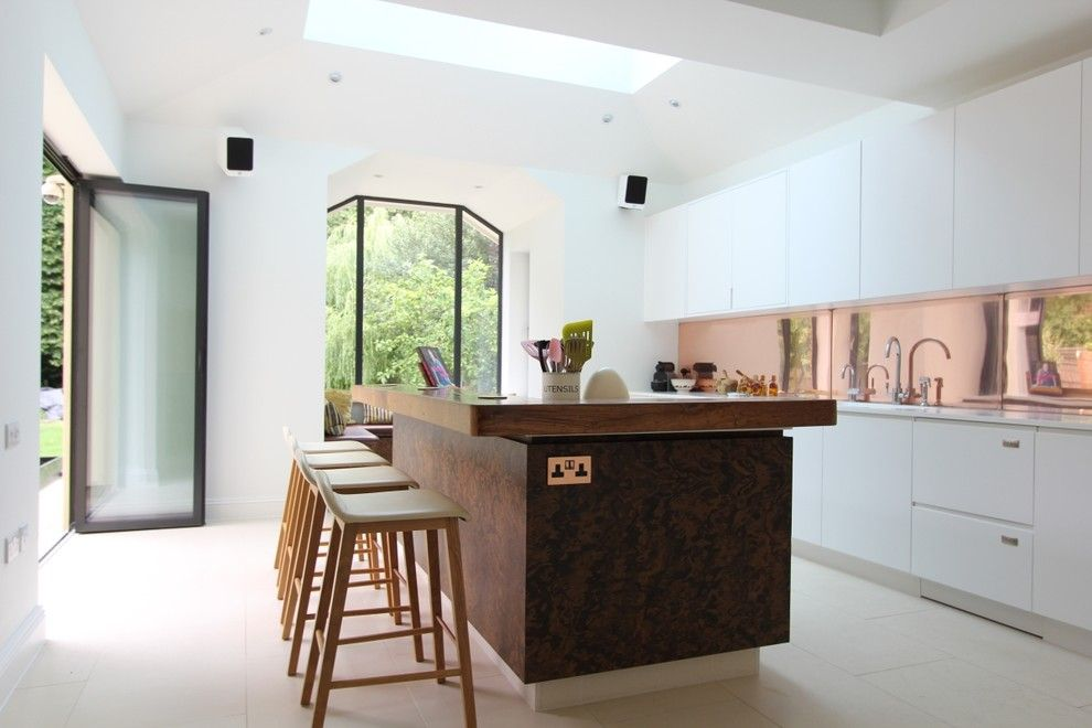 Deans Supply for a Contemporary Kitchen with a Geometric Shaped Windows and Open Plan Kitchens by Increation