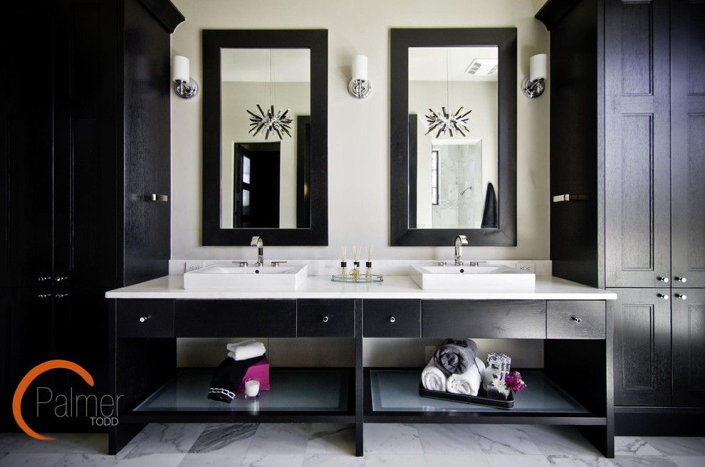 Deans Supply for a Modern Bathroom with a Dark Vanity and Elegant Chic Bathroom by Palmer Todd