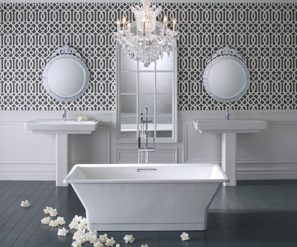 Deans Supply for a Traditional Bathroom with a White Bathtub and Kohler Bathrooms by Capitol District Supply