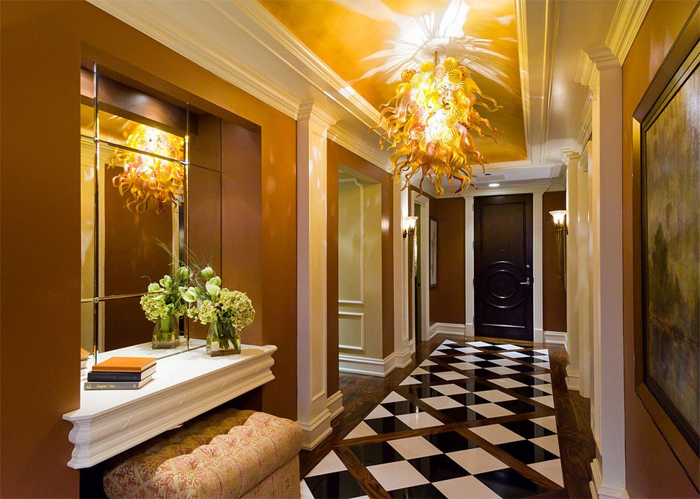 Deans Supply for a Traditional Entry with a Ceiling and Private Residence by Eleni Interiors