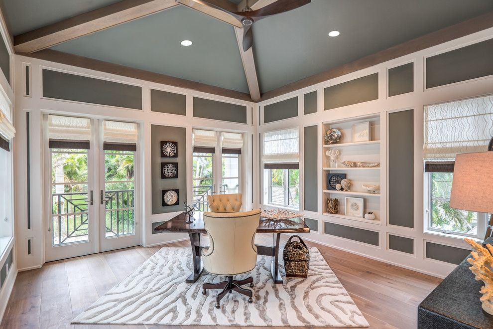 Deans Supply for a Transitional Home Office with a Exposed Beam and Longboat Key, Florida by Dawn M Smith Photography