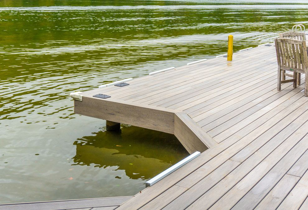 Decks and Docks for a Contemporary Deck with a Cool Boat Dock and Phillips Ranch Dock (Timbertech) by Timbertown