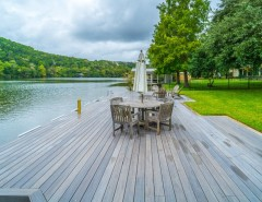 Decks and Docks for a Contemporary Deck with a Lake View and Phillips Ranch Dock (TimberTech) by TimberTown