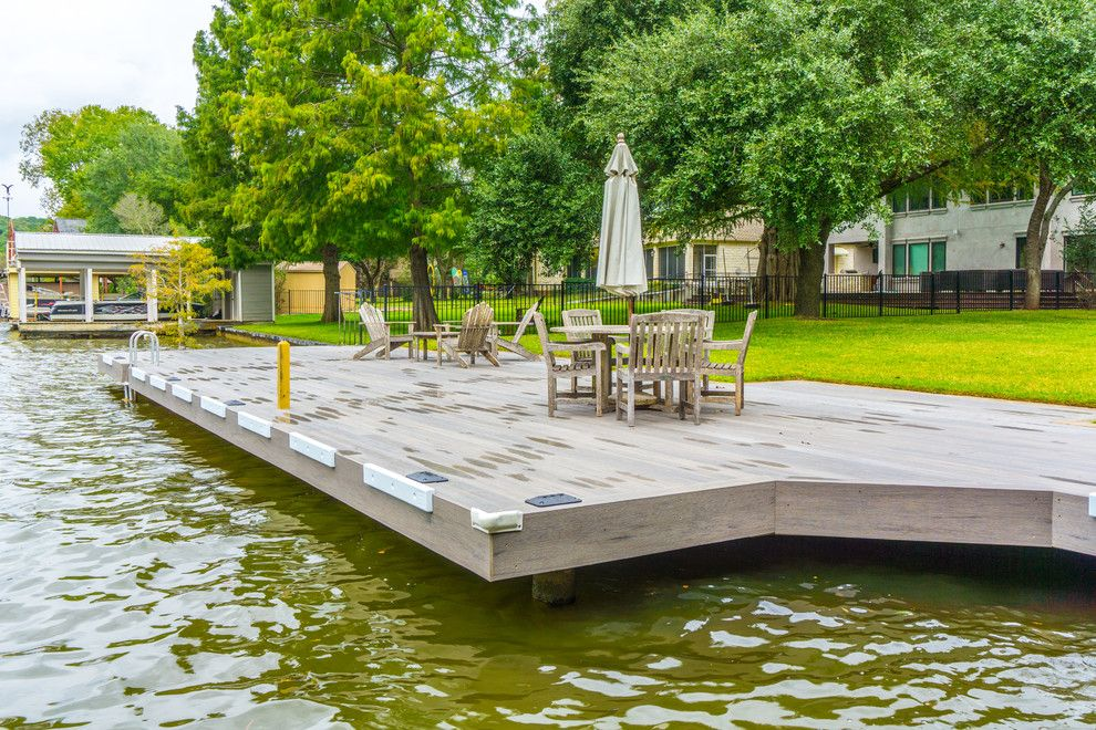 Decks and Docks for a Contemporary Deck with a Timber Tech Deck and Phillips Ranch Dock (Timbertech) by Timbertown