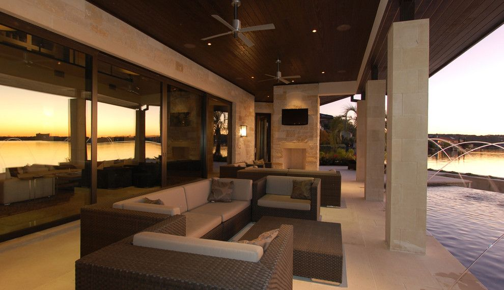 Dedon for a Contemporary Exterior with a Lakehouse and Horseshoe Bay Lakehouse Exterior by Cornerstone Architects