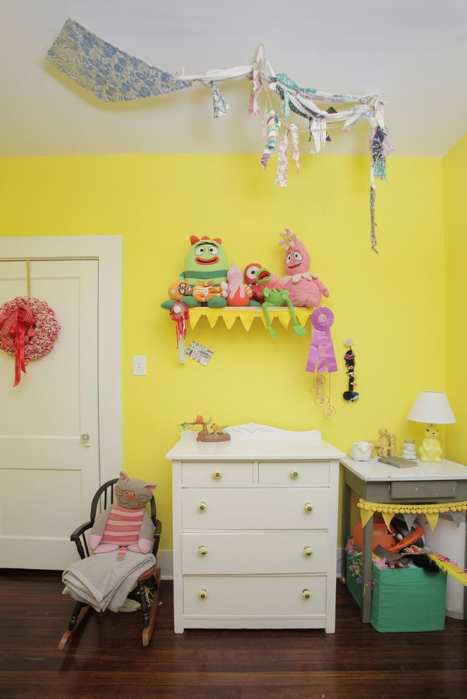 Dees Nursery for a Shabby Chic Style Kids with a Two Toned Paint Treatment and My Houzz: Colorful Hand Painting Bedecks a Creative Home by Lindsay Von Hagel