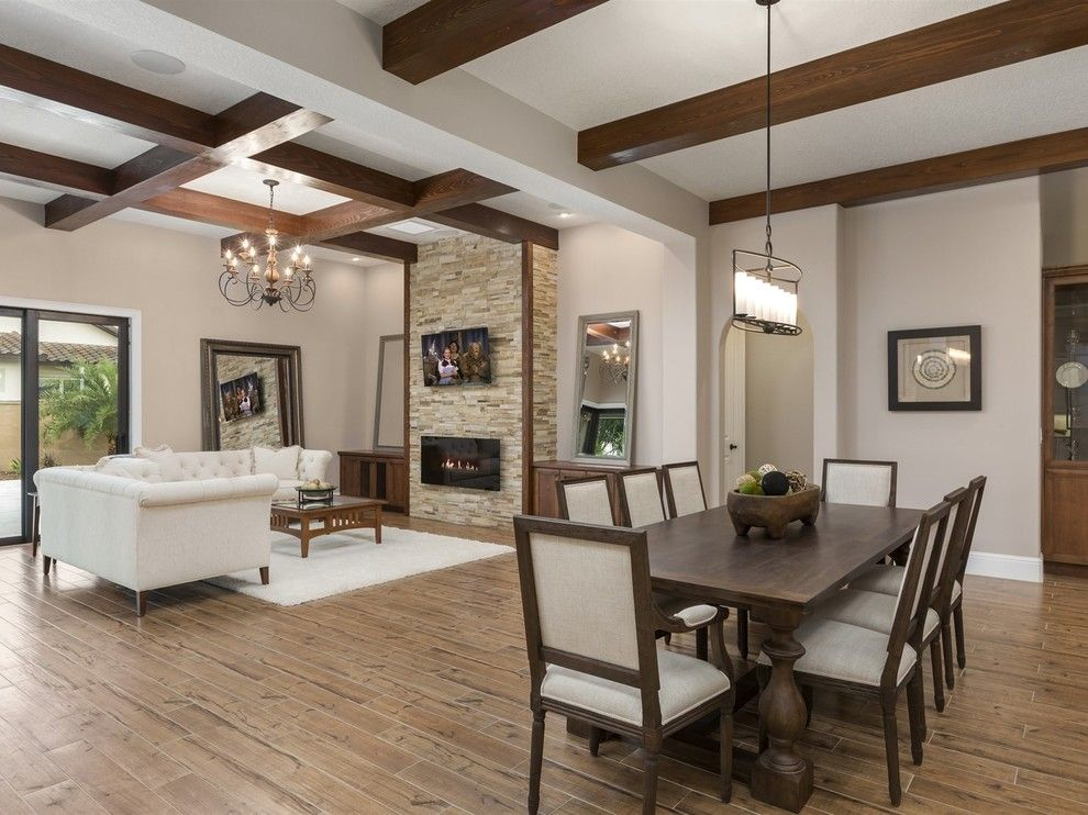 Del Webb Orlando for a Transitional Dining Room with a Porcelain Wood Floors and Beautiful Tuscan Villa  in Windermere Florida's, Casa Del Lago by Element Home Builders