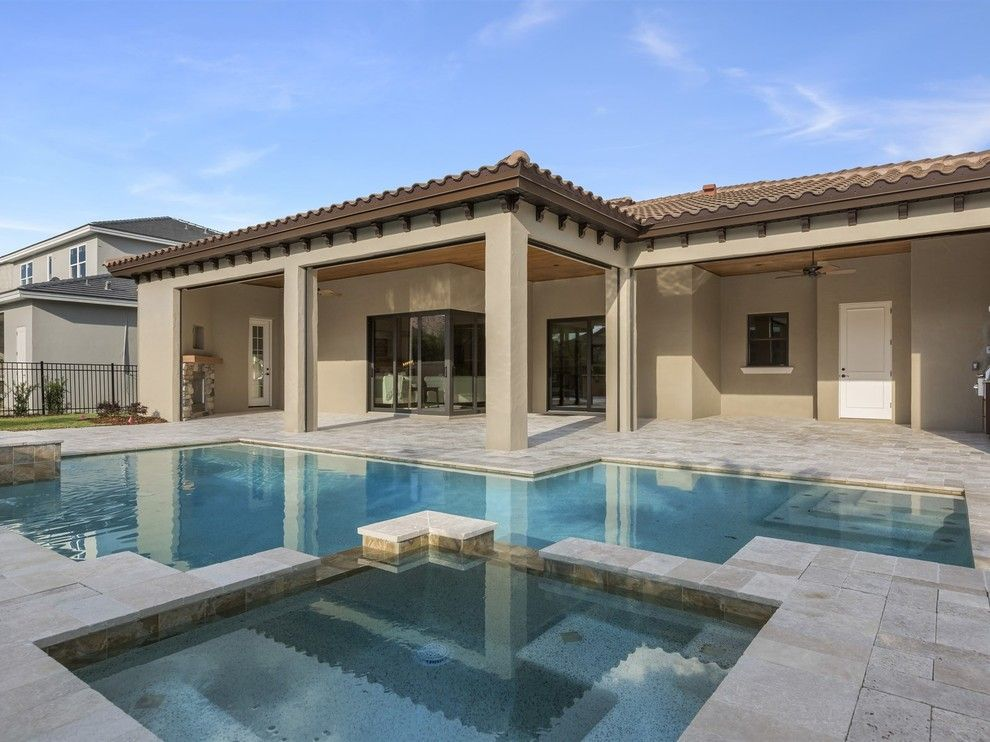 Del Webb Orlando for a Transitional Pool with a Spa Overflowing Into Pool and Beautiful Tuscan Villa  in Windermere Florida's, Casa Del Lago by Element Home Builders