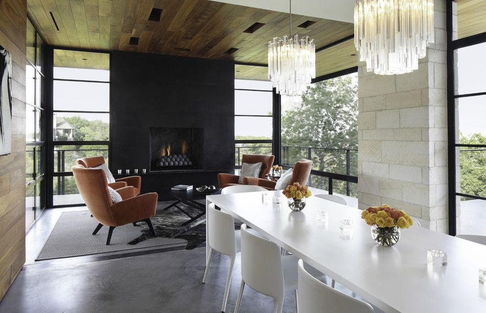 Delaire Country Club for a Contemporary Dining Room with a Animal Hide Rug and Hill Country Residence by Cornerstone Architects
