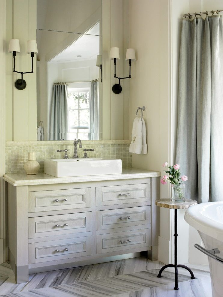 Delta Faucet Warranty for a Traditional Bathroom with a Rectangular Vessel Sink and Master Bath Renovation by Liz Williams Interiors