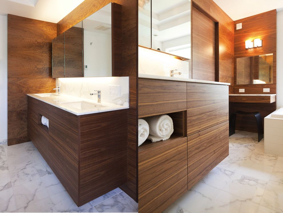 Demising Wall for a Contemporary Bathroom with a Bathroom Stool and Nw Homes by Vanillawood