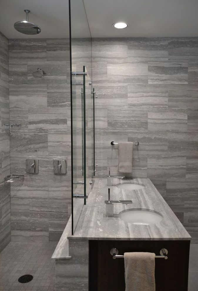 Demising Wall for a Modern Bathroom with a Modern and Alaska Vacation Home by Nicholas Moriarty Interiors