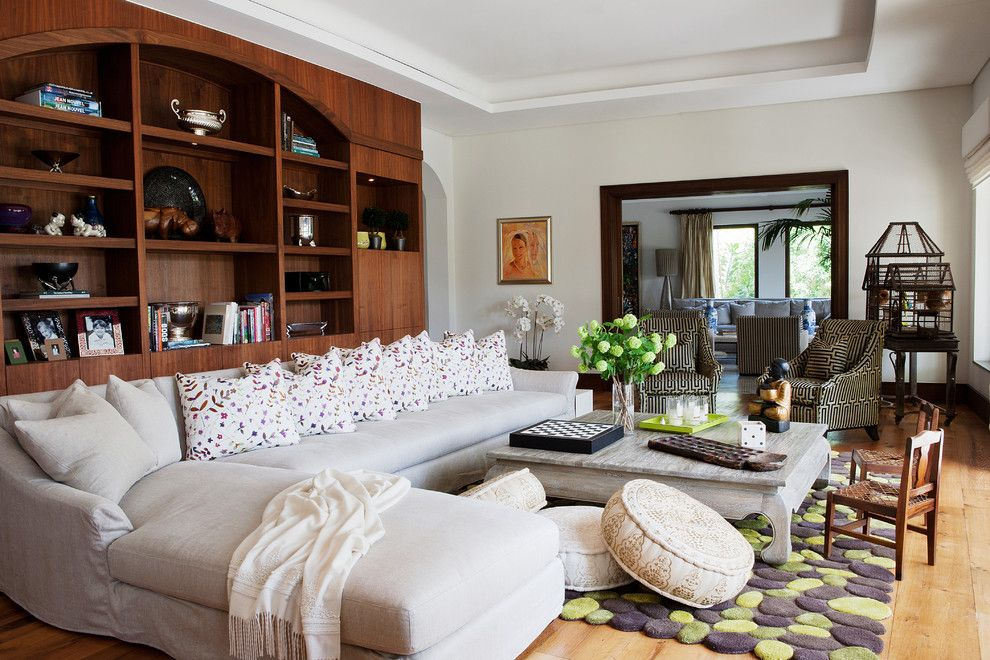 Deseret Digital Media for a Contemporary Family Room with a Built in Bookcase and Desert Dream by Greenauer Design Group