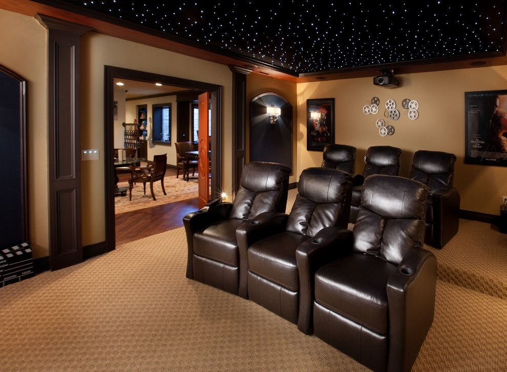 Deseret Digital Media for a Mediterranean Home Theater with a Fiber Optic Stars and Tartan Ridge Lot 88 by Romanelli & Hughes Custom Home Builders