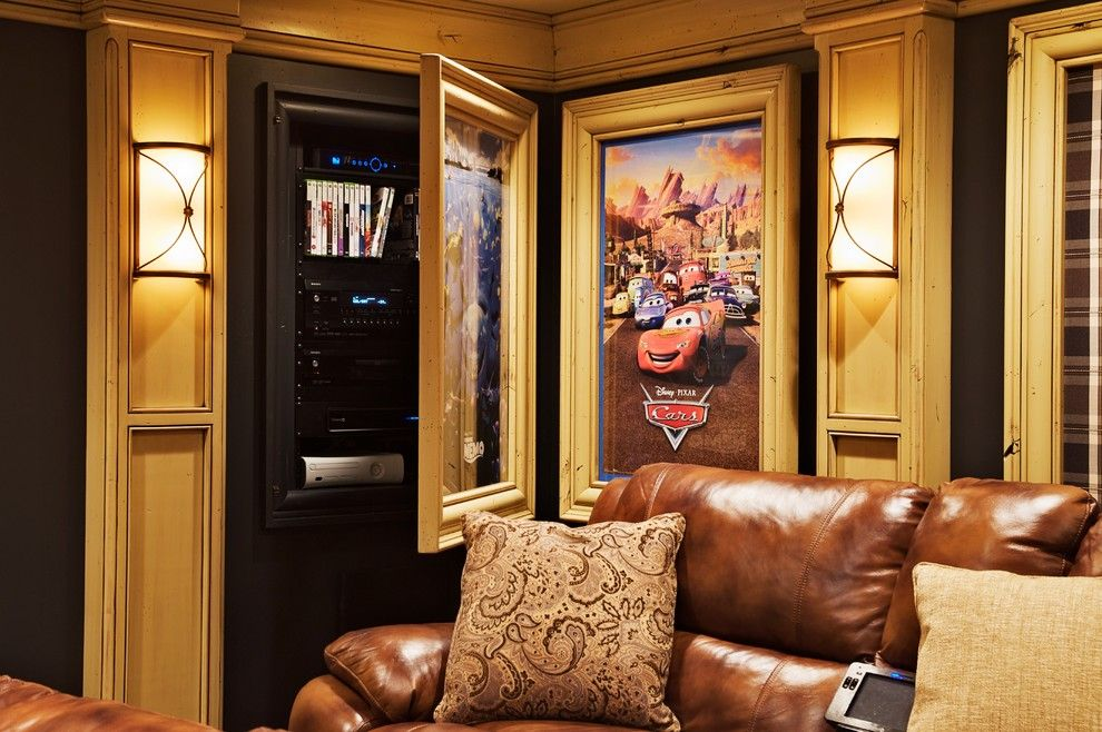 Deseret Digital Media for a Traditional Home Theater with a Distressed Finish and Theater Room by Dan Waibel Designer Builder
