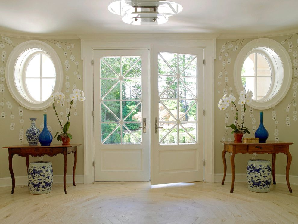 Devco for a Traditional Entry with a Chinoiserie and Greenwich French by James Schettino Architects