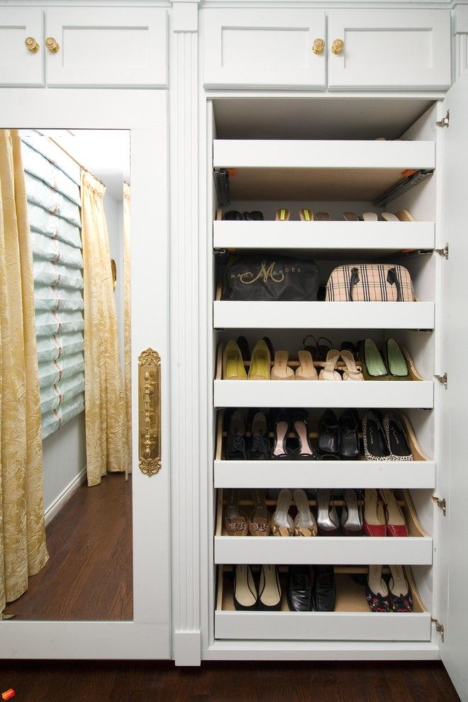 Devon Self Storage for a Traditional Closet with a Shoe Storage and Colleen's Bedroom by Armina Interiors